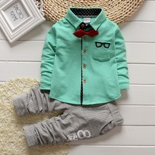 New Hot kids clothing boys fashion clothes sets long sleeves t-shirt + pants handsome gentleman sets