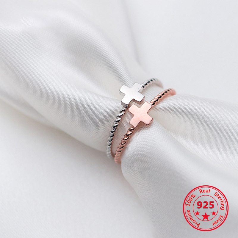 Factory Price 100% 925 Silver Rings Fashion Concise Delicate Twist Cross Open Rings Fine Jewelry For Female