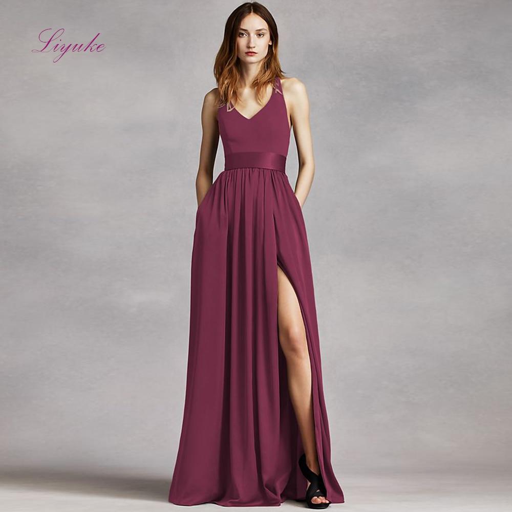 Liyuke A line   Bridesmaid     Dress   Long   Dress   V-neck Draped Sashes Backless Chiffon Customized Free Shipping