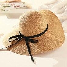 New 2018 Hot Sale Round Top Raffia Wide Brim Straw Hats Summer Sun Hats for Women With Leisure Beach Hats Lady Flat Gorras