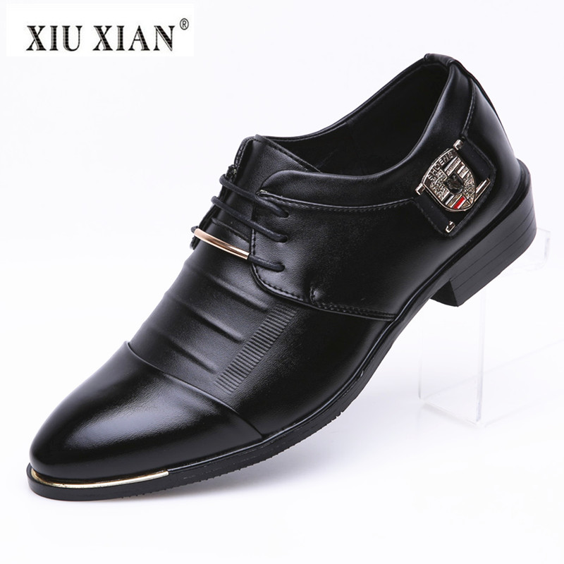 2018 Spring New Fashion Pointed Toe PU Leather Men Business Casual Shoes Hot Sale Comfortable Square Heel Casual Male Derby Shoe vmuksan hot sale suede leather shoes men high quality lace up men casual shoes new style comfortable men s spring shoes