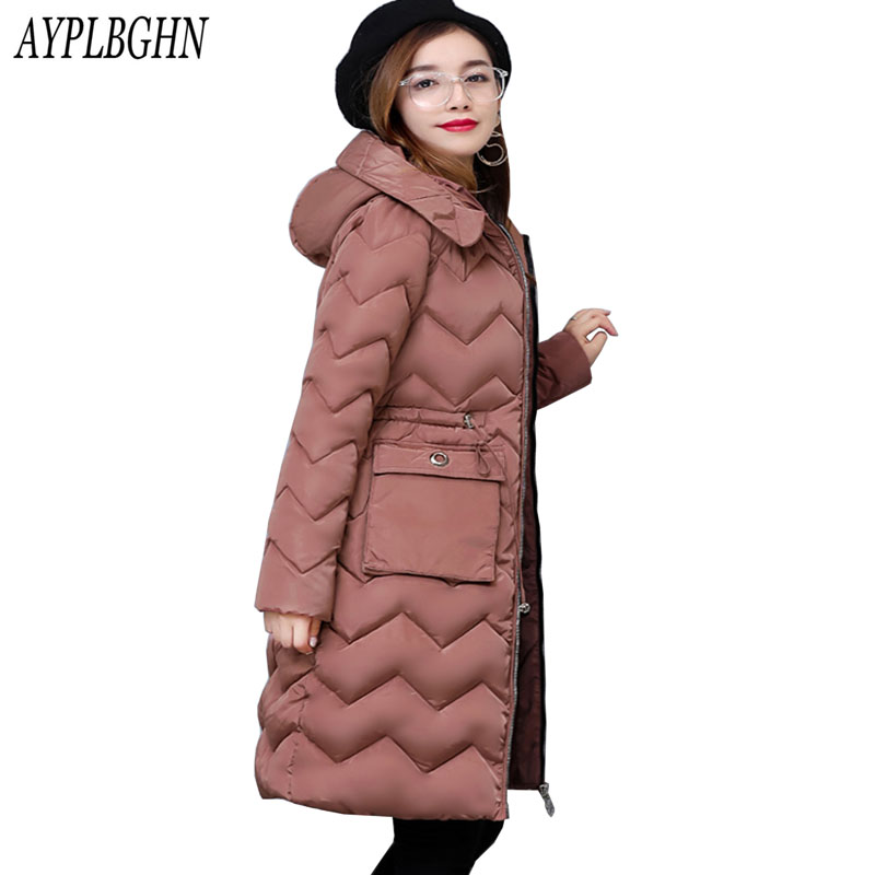 2017 Winter Cotton Padded Jacket Women Slim Thick Female Coat women winter Parkas Warm Winter Long Jackets Lady Overcoat 7L47 new collocation winter warm parkas hooded pockets zipper solid thick women coat slim long flare slim cotton padded lady jackets