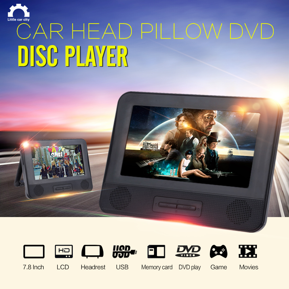 7.8Inch Car Radio Dual Headrest LCD TFT Monitors Car Pillow DVD Support Disc Game Movies USB SD MMC MP3 MP4 Player