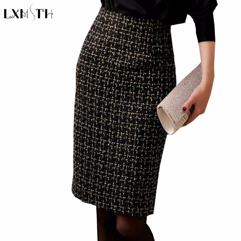 2019 Autumn Winter Ladies Tweed Skirt Black Slim Women Sexy Bodycon Wool Pencil Skirt Office Lady Work Skirts High Quality pencil skirt