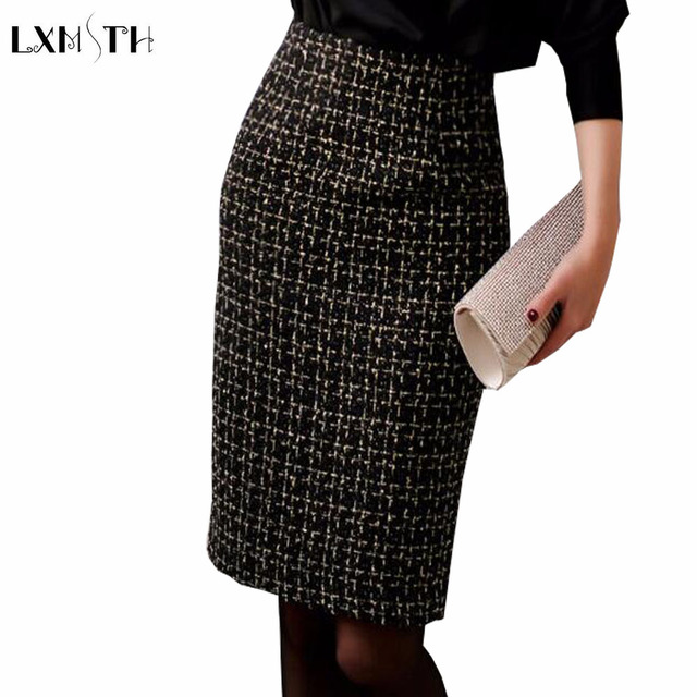 a91a7e7a1 2019 Autumn Winter Ladies Tweed Skirt Black Slim Women Sexy Bodycon Wool Pencil  Skirt Office Lady Work Skirts High Quality