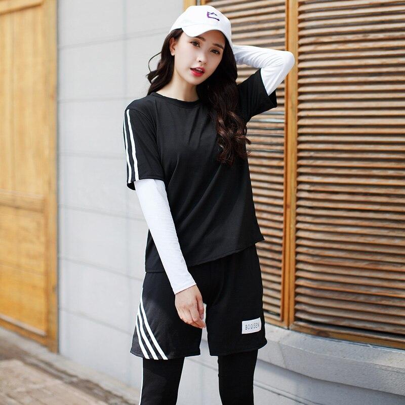2018 New Women Yoga Set Sports Suit Long Sleeve Fitness Breathable Sport Bra Yoga T-Shirts Running Pants 4 Pieces Set Large Size все цены