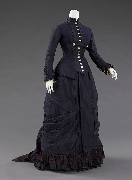 19th Century Victorian Dress 1877 Natural Form Victorian Bustle Dress
