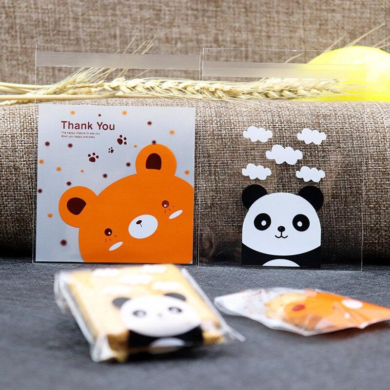 Best  50/100Pcs Cartoon Panda Bear Candy Cookie Bags Self-adhesive Wedding Birthday Party Gift Bag Baby S