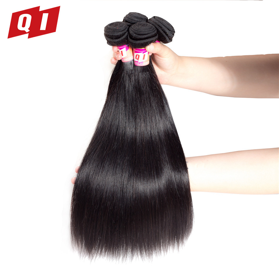 QI Hair Straight Peruvian Hair Weave 4 Bundles 100% Human Hair Machine Double Weft Natural Color Hair Extensions Non Remy Hair