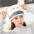 2017 Más Nuevas mujeres de Invierno Sombreros Calientes de La Muchacha de Kawaii Cara Linda Del Gato Del Oído Moda de Punto Gorros Skullies mujer Felpa sombreros