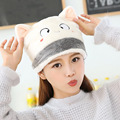 2017 Newest Women's Winter Warm Hats Girl Kawaii Skullies Cute Cat Face Ear Ladies Fashion Knitted Beanies female Plush Hats