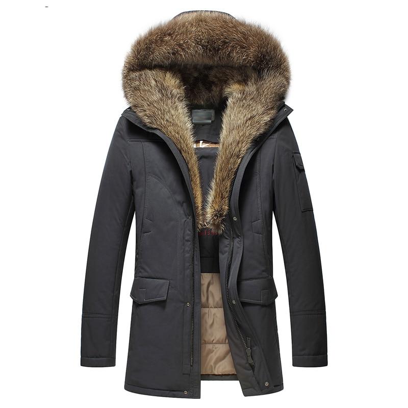 New Cotton Jacket Men Warm Winter Outwear Coat Fur Collar Hooded Parka Fashion Thicken Coats top quality winter warm yellow hooded coat men fur wool outwear cashmere parka fur men brand black fur jacket