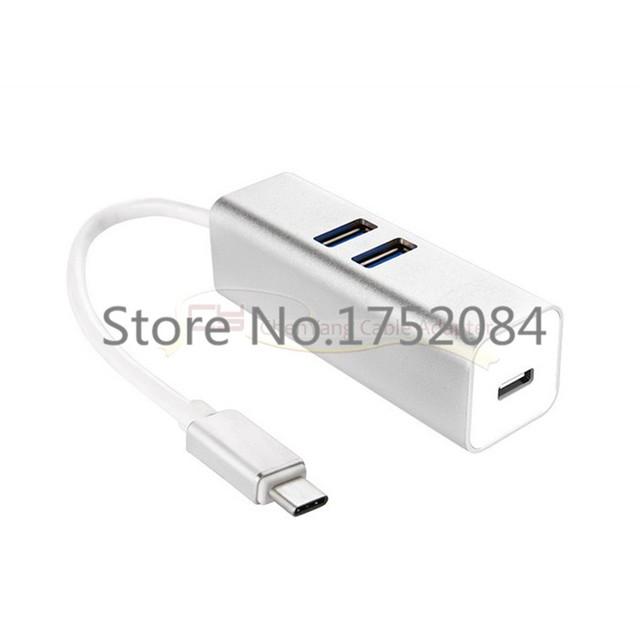 USB 3.1 USB-C Múltipla Dual Port Hub Com o Tipo C Carga Para PC Laptop & Chromebook Cor Prata