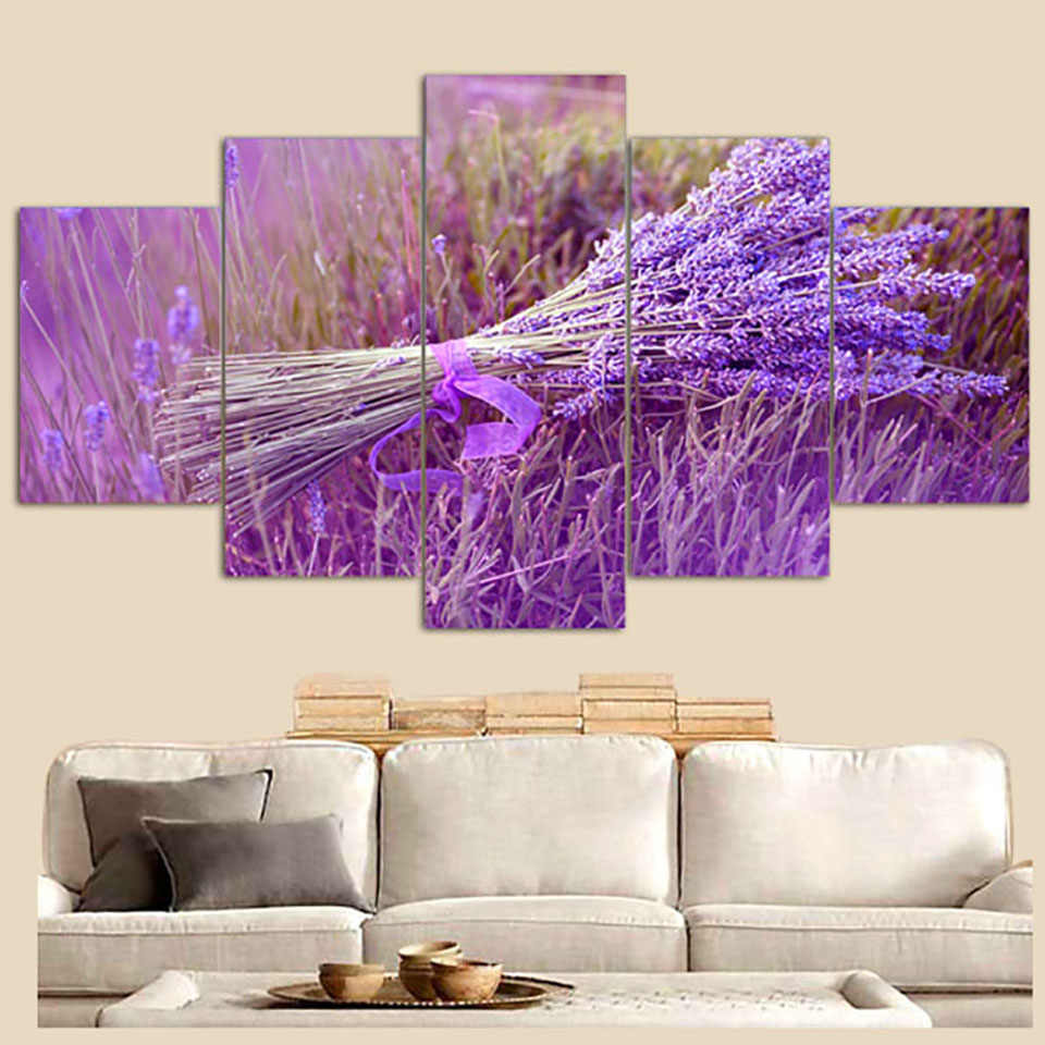 Art Painting Modular Pictures Framework 5 Panel Purple Lavender Flower Home Decor Living Room Wall HD Printed Modern Canvas