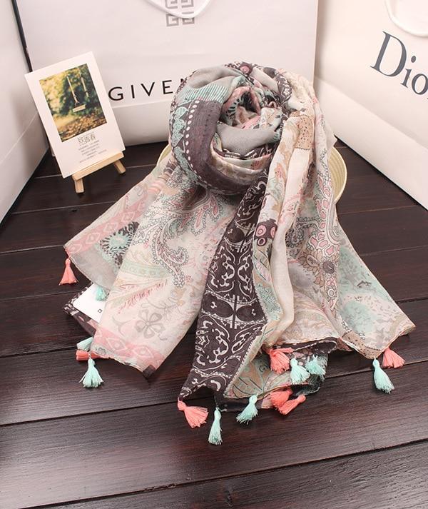 Dames sjaal van 100% katoen en linnen, zijden sjaal in frisse stijl - Kledingaccessoires