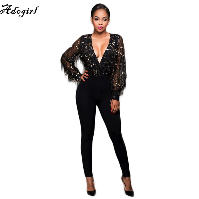Adogirl 2018 Hot Fashion Spring Sequined Ladies Full Sleeve Long Rompers  Black Patchwork Lace Rompers V-Neck Sexy Club Wear 4b4b9882cbc1