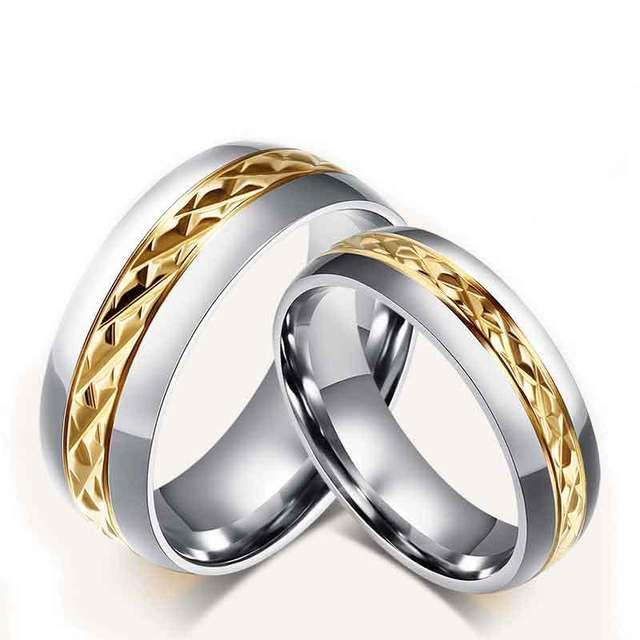 Обручальные кольца пара 18 К золотые кольца нержавеющей стали для женщин и  мужчин 06537d198bf