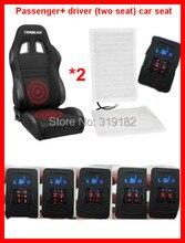 2 assentos instalados aquecedor de assento de carro, praça 2-dial 5-nível switch w elementos de aquecimento de fibra de carbono assento almofada aquecida assento kit