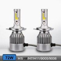 1 Pair C6 H3 H4 H7 9006 9005 H8 H10 H11 Car Led Headlight 72W 7600LM