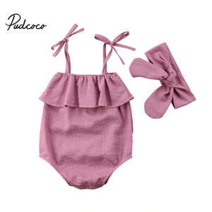 0eeced727a85 pudcoco Toddler Striped Jumpsuit 2Pcs Ruffled Sunsuit