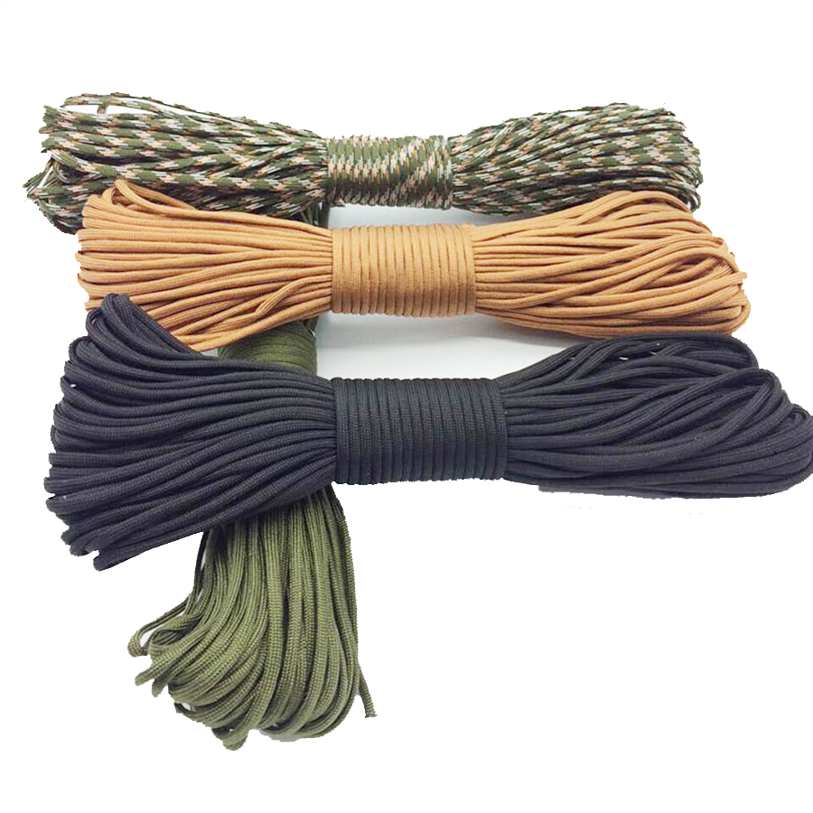 4mm 31m 100ft Black 7 Core Parachute Cord Rope Lanyard For Camping Outdoor