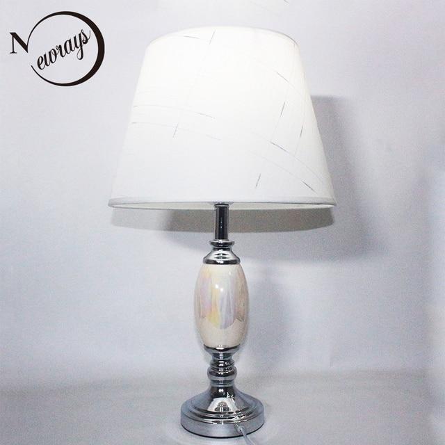 Modern High Quality Fabric Ceramic Desk Light E27 Led 220v Table Lamp For Reading Bedside Home