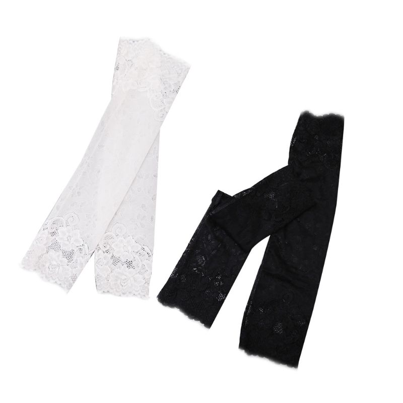 Women Girls Summer UV Protection Arm Sleeves Sexy Crochet Floral Lace Warmers Jacquard Scar Cover Long Fingerless Driving Gloves