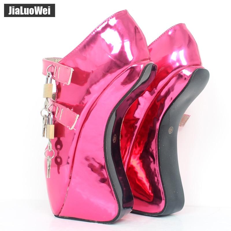 Pompes 18 7 Chaussures Jialuowei Sabot Fétiche Wedge Talon Verrouillable Color Custom Pin Nouveau Sexy Sans up Personnalisé Cm Ballet Cristal 2