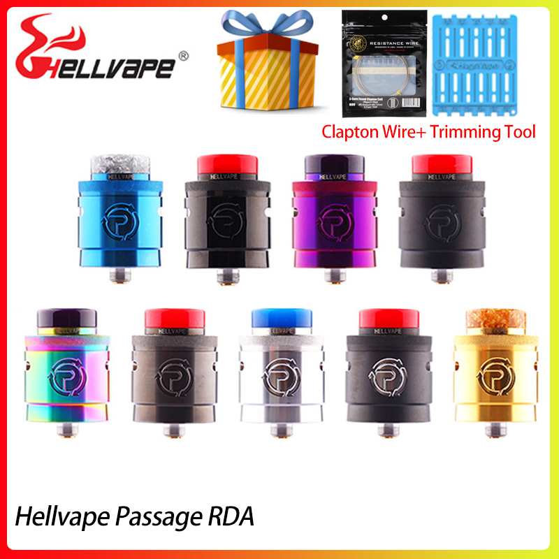 In stock Hellvape Passage RDA Tank 24mm Electronic Cigarette Atomizer 2 Post with 510 BF Squonk