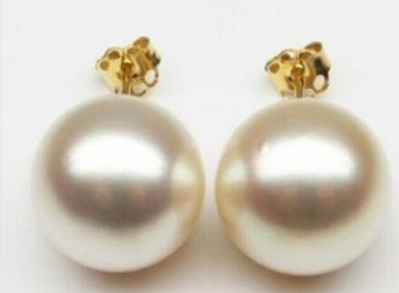 free shipping luxury Noble jewelry Genuine AAA 10-11mm natural Australian south sea white pearl earrings