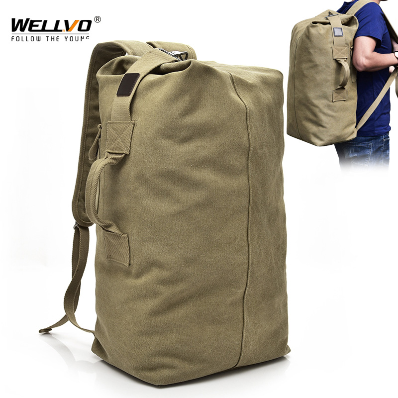 Military Canvas Backpacks Multi-Purpose Bucket Travel Bag Large Shoulder Bags Army Tourist Foldable Hand Bag XA1934C