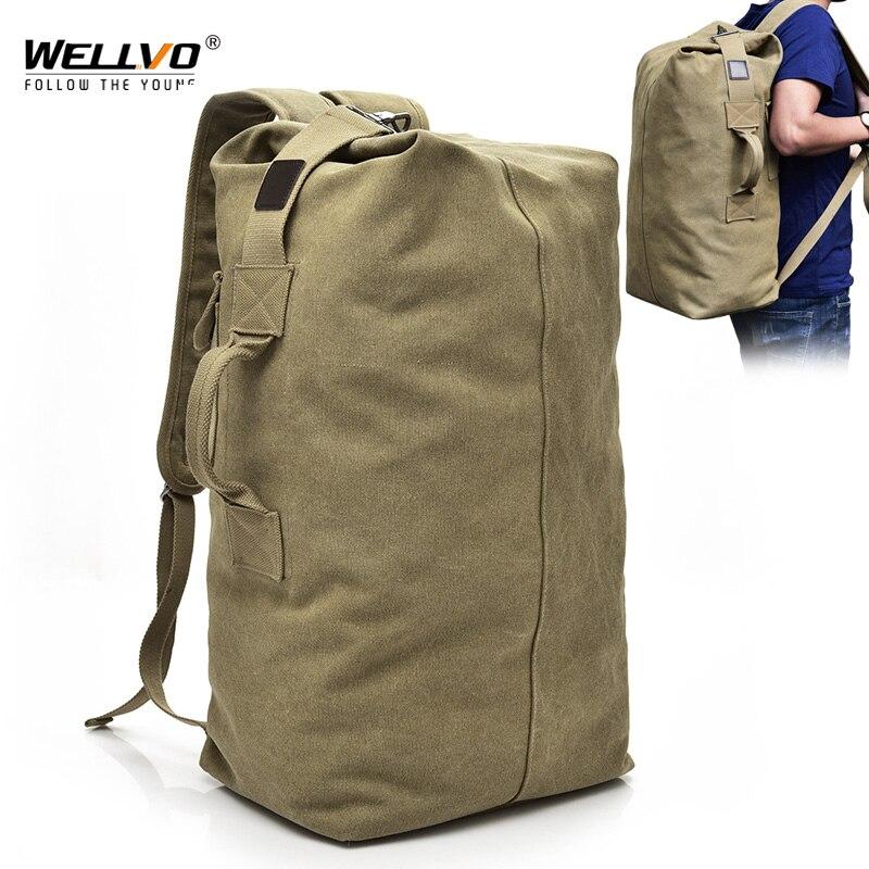 Men's Military Canvas Backpacks Multi-purpose Bucket Travel Bag Large Shoulder Bags Men Army Tourist Foldable Hand Bag XA1934C
