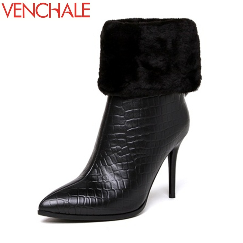 VENCHALE 2017 ankle boots noble fur wool pointed toe thin 9.5cm high heels zipper fashion black career solid 2017 women boots noble people куртка на пуху без меха для мальчика 18607 284down no fur зелёный noble people