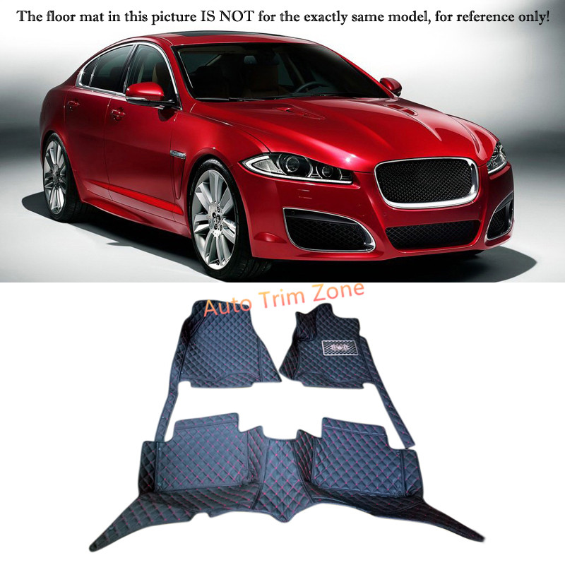 Black Interior Leather Floor Mats & Carpets Foot Pads Protector For Jaguar XF 2009-2015