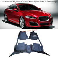 Black Interior Leather Floor Mats & Carpets Foot Pads Protector For Jaguar XF 2009 2015