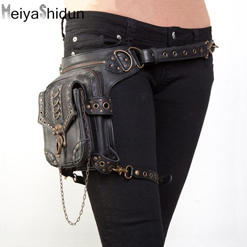 ФОТО Meiyashidun Women/Men Leather Vintage punk Mini Waist fanny pack Ride Motorcycle Leg Thigh Holster Bag Crossbody Bag Purse Pouch