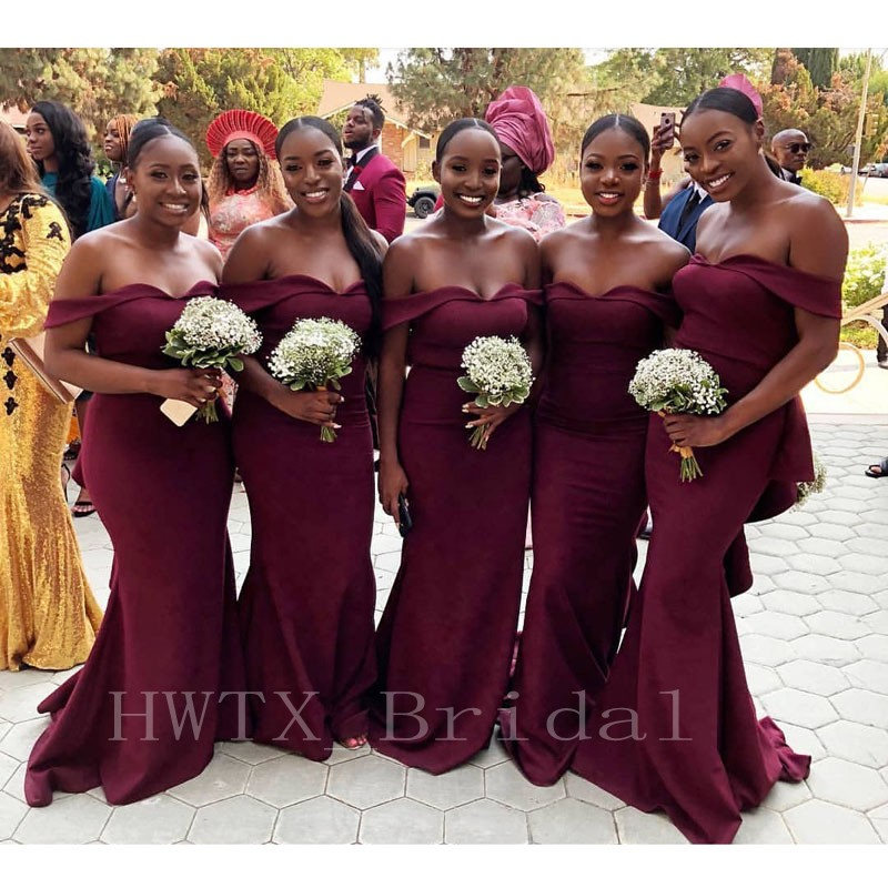 Burgundy Off Shoulder Mermaid   Bridesmaid     Dresses   2018 African Black Girls Long Wedding Guest   Dress   Cheap Maid Of Honor Gowns