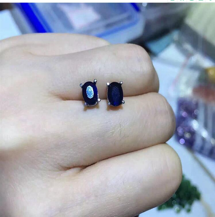 Sapphire stud earring Free shipping Jewelry Natural real sapphire 925 silver Gem size 5*7mmSapphire stud earring Free shipping Jewelry Natural real sapphire 925 silver Gem size 5*7mm