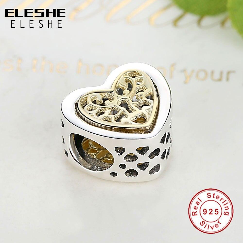 ELESHE Lüks marka 100% 925 Sterling Gümüş Ürək Yaraşıqlı - Moda zərgərlik - Fotoqrafiya 4