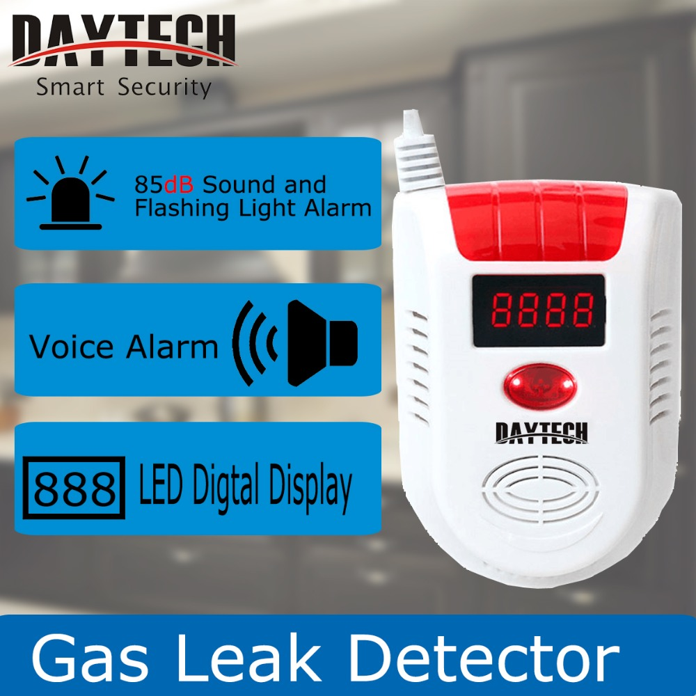 DAYTECH Home Security Gas Leak Detector Flammable Gas Leaking Alarm Sensor LPG/Natural Gas/Coal Gas LED Display GAS02 golden security lpg detector wireless digital led display combustible gas detector for home alarm system