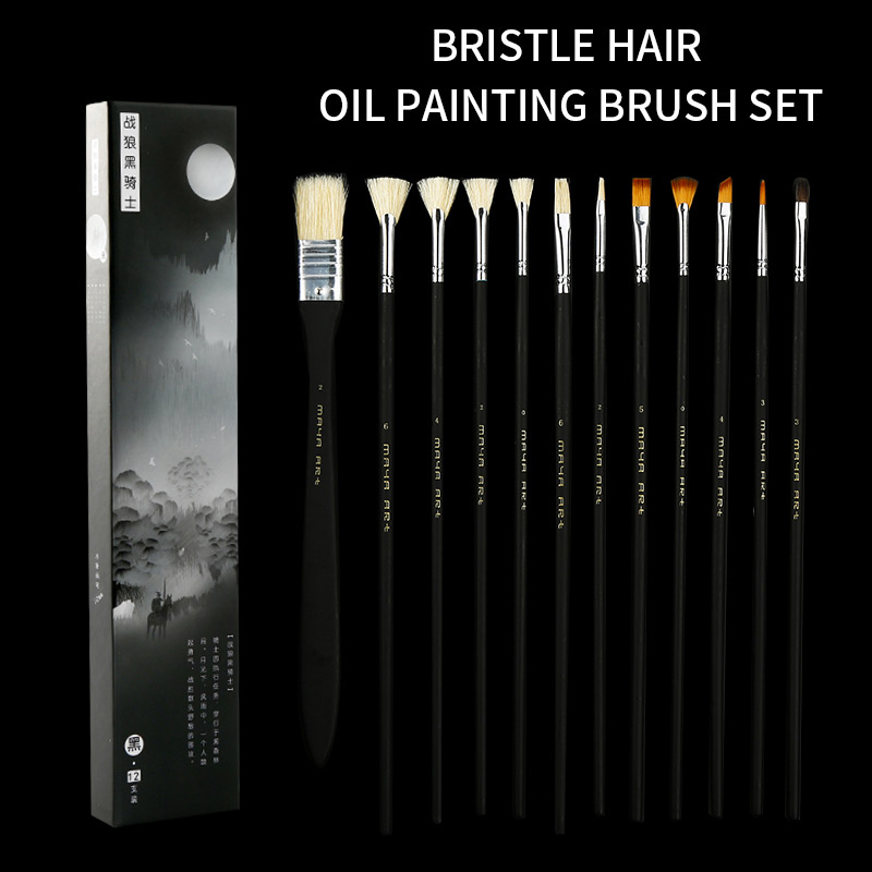 BGLN 12Pcs/set Bristle Hair Artist Oil Painting Brush With Exquisite Box Solid Wood Pole Oil Acrylic Paint Brush Art Supplies