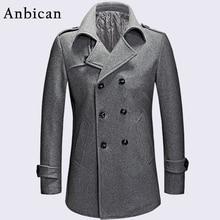 Фотография Anbican Fashion Gray Men Winter Coat Wool Blend Double Breasted Long Coat Oversize Classic Mens Pea Coat Plus Size M-XXXL