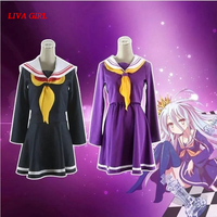 No Game No Life Cosplay Shiro Costume Halloween Women Clothes Carival Dress Wigs Sailor Suit Japanese