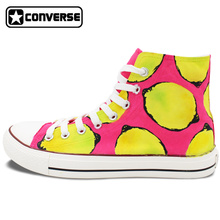 Lemon Original Design Converse All Star Women Men Shoes Custom Hand Painted Shoes Pink Yellow High Top Canvas Sneakers Gifts