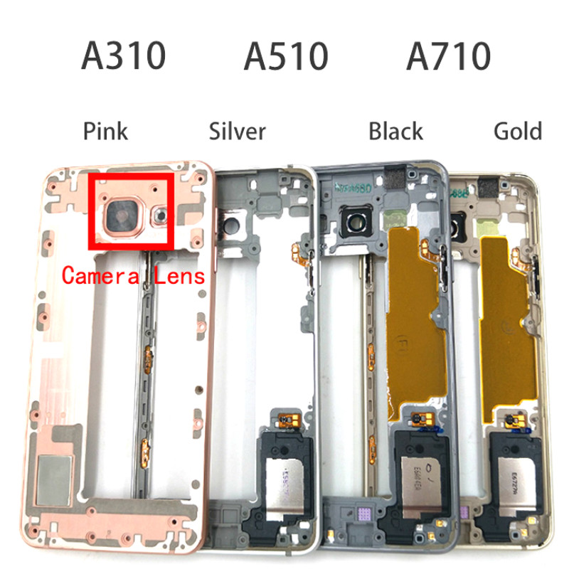 LCD Faceplate Front Frame For Samsung Galaxy A3 A5 A7 2016 A310F A510F A710F Middle Frame Bezel Housing Replacement Parts