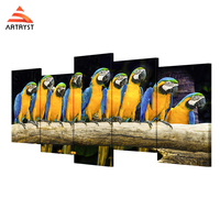 Artryst Modern Animal Parrot HD Image 5 Piece Canvas Wall Art Set For Living Room Wall
