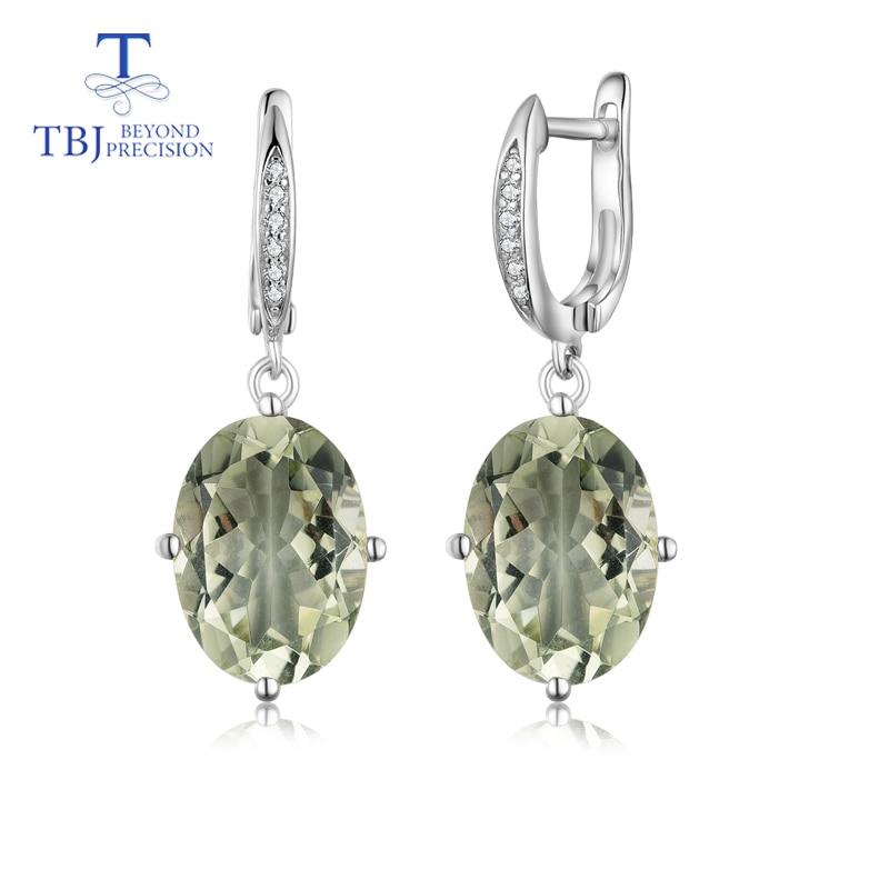 Tbj, 녹색 자수정 귀걸이 여자 기념일 선물을위한 925 순은 간단한 작풍 정밀한 보석을 가진 자연적인 원석-에서귀걸이부터 쥬얼리 및 액세서리 의  그룹 1