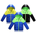 New Winter Children's Down Jacket  Girl Boys Fashion Patchwark Hooded Down Coat  Thick Warm  Children's Clothing Coat Boy