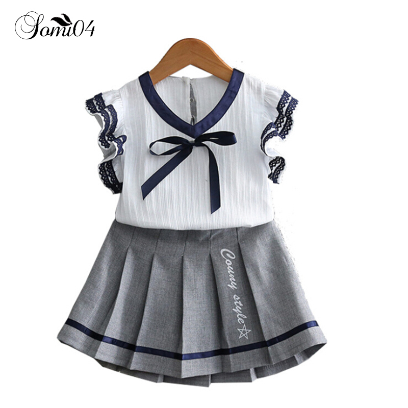Kids Clothes For Girls 2018 Summer College Sets 2Pcs White Top + Grey Pleated Skirt School Style Girls 2 3 4 5 6 7 Years Outfits girls summer sets 100 page 5