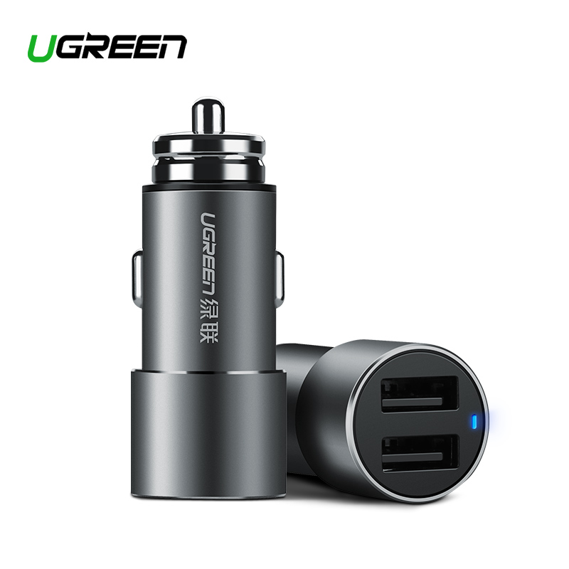 Ugreen USB cargador de coche para Xiaomi Mini coche Dual-cargador-3.6A rápida cargador de teléfono móvil para iPhone X 8 7 6 s cargador de coche
